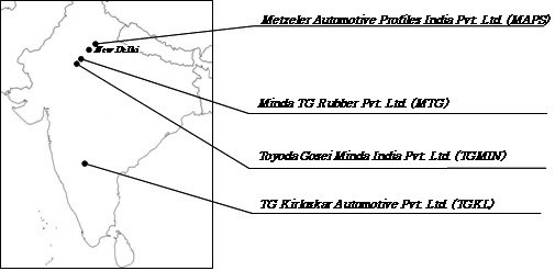 Locations of Toyoda Gosei Plants in India